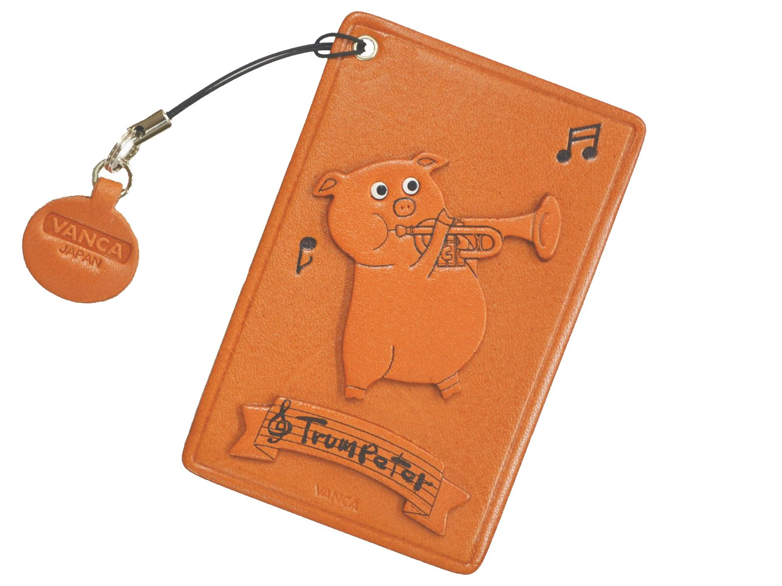 Pig with Trumpet Leather Animal Pass/ID/Card Holder/CaseVANCA Handmade in Japan by Vanca.com