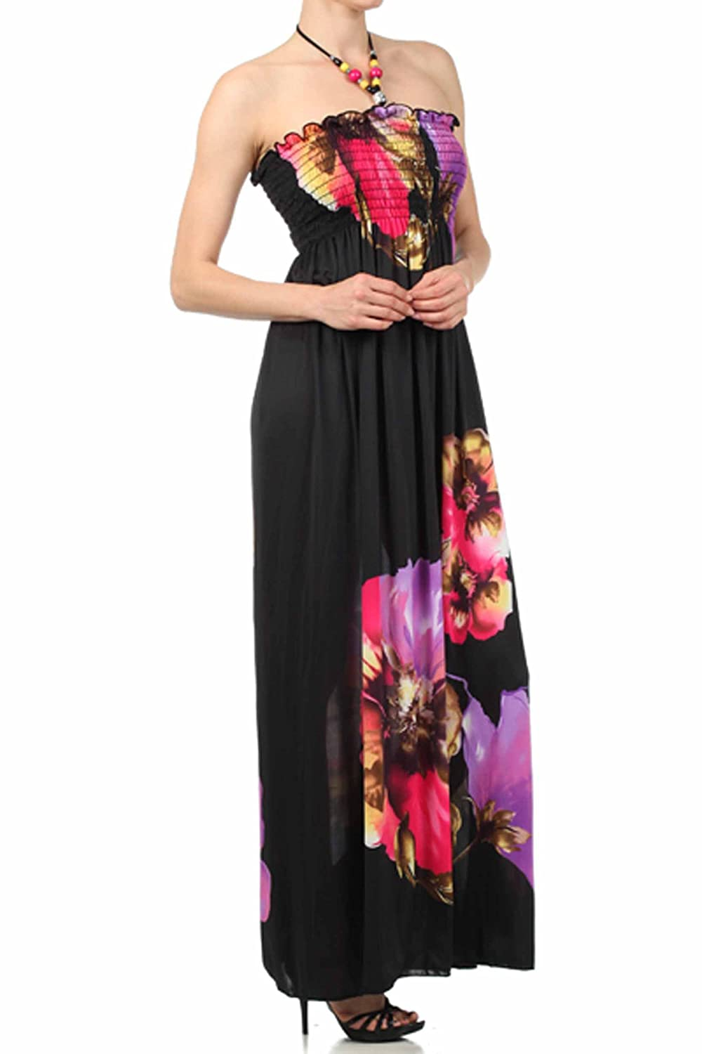 b80b1ae3b1123f Sakkas Floral on Solid Black Graphic Print Beaded Halter Smocked Bodice Long  Maxi Dress (2 Colours)  Amazon.co.uk  Clothing