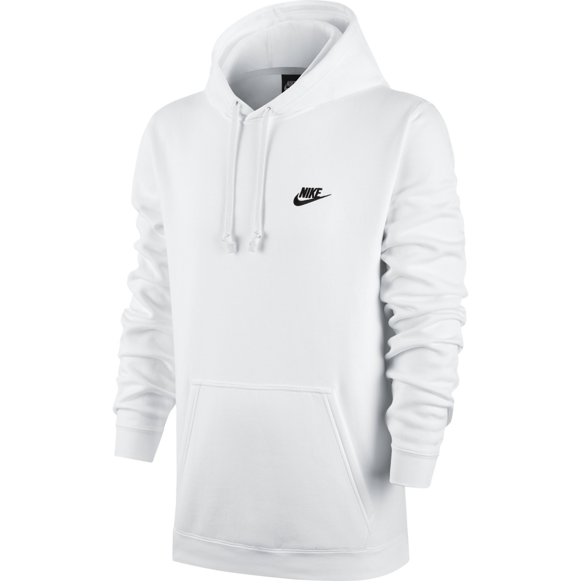 Men's Nike Sportswear Club Pullover Hoodie, Fleece Sweatshirt for Men with Paneled Hood, White/White/Black, XS by Nike (Image #1)