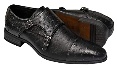 0d9214214a3e24 Tayno Roma Men s Ostrich Print Slip-On Monk Strap Loafer Dress Shoes