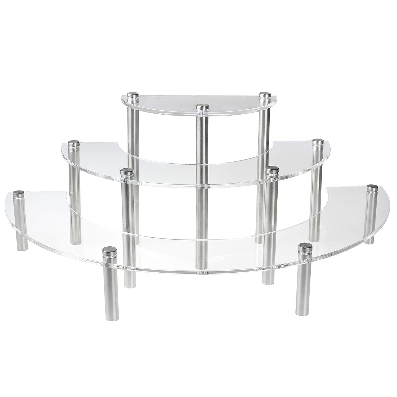 MyGift Clear Acrylic 3 Tier Half Moon Shelf Unit, Table Top Retail Display Riser, Spice Jar Rack