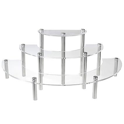 MyGift Clear Acrylic 3 Tier Half Moon Shelf Unit, Table Top Retail Display  Riser,