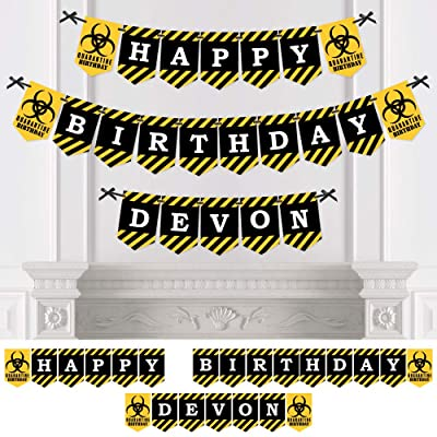 Big Dot of Happiness Personalized Happy Quarantine Birthday - Custom Social Distancing Birthday Party Bunting Banner and Decorations - Happy Birthday Custom Name Banner: Toys & Games