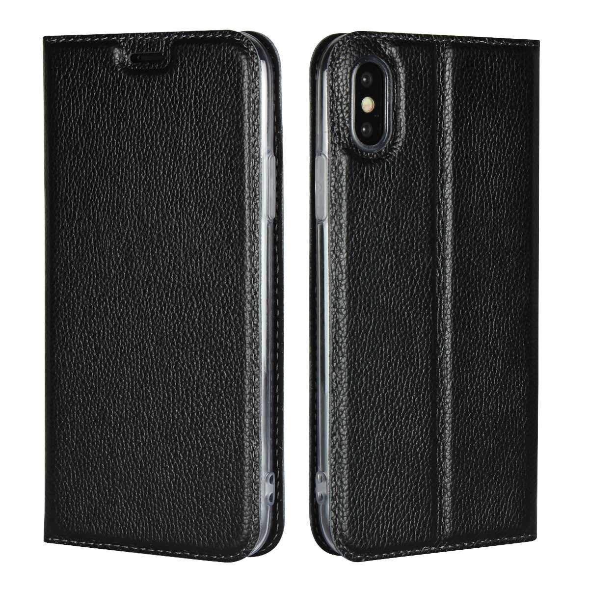 Thrion Coque iPhone XR, Housse iPhone XR, PU Etui en Cuir Portefeuille de Protection - Noir ThrFR22-IXR-H01