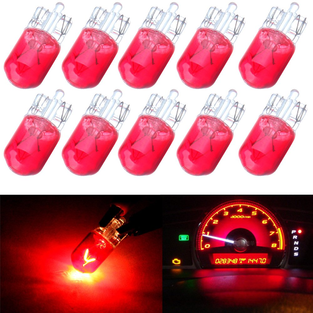 cciyu 12V 5W T10 168 194 W5W Wedge Halogen Light Bulb Replacement fit for 2005-2009 BMW M6-E63/64 M6 Dome Light Step/Courtesy/Door Light License Plate Light (red) by cciyu