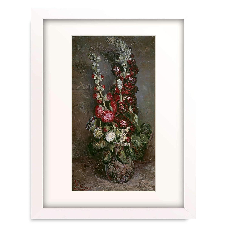 フィンセントファンゴッホ Vincent Willem van Gogh 「Vase mit Rosenmalven, 1886.」 額装アート作品 B07PF8NNSH 04.木製額 22mm(パールホワイト) M(額内寸 379mm×288mm) M(額内寸 379mm×288mm)|04.木製額 22mm(パールホワイト)