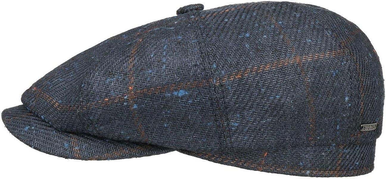 Made in Germany mit Schirm Futter Stetson Hatteras Silk Wool Check Flatcap Ballonm/ütze Schirmm/ütze Seidencap Wollcap Herren Futter Herbst-Winter
