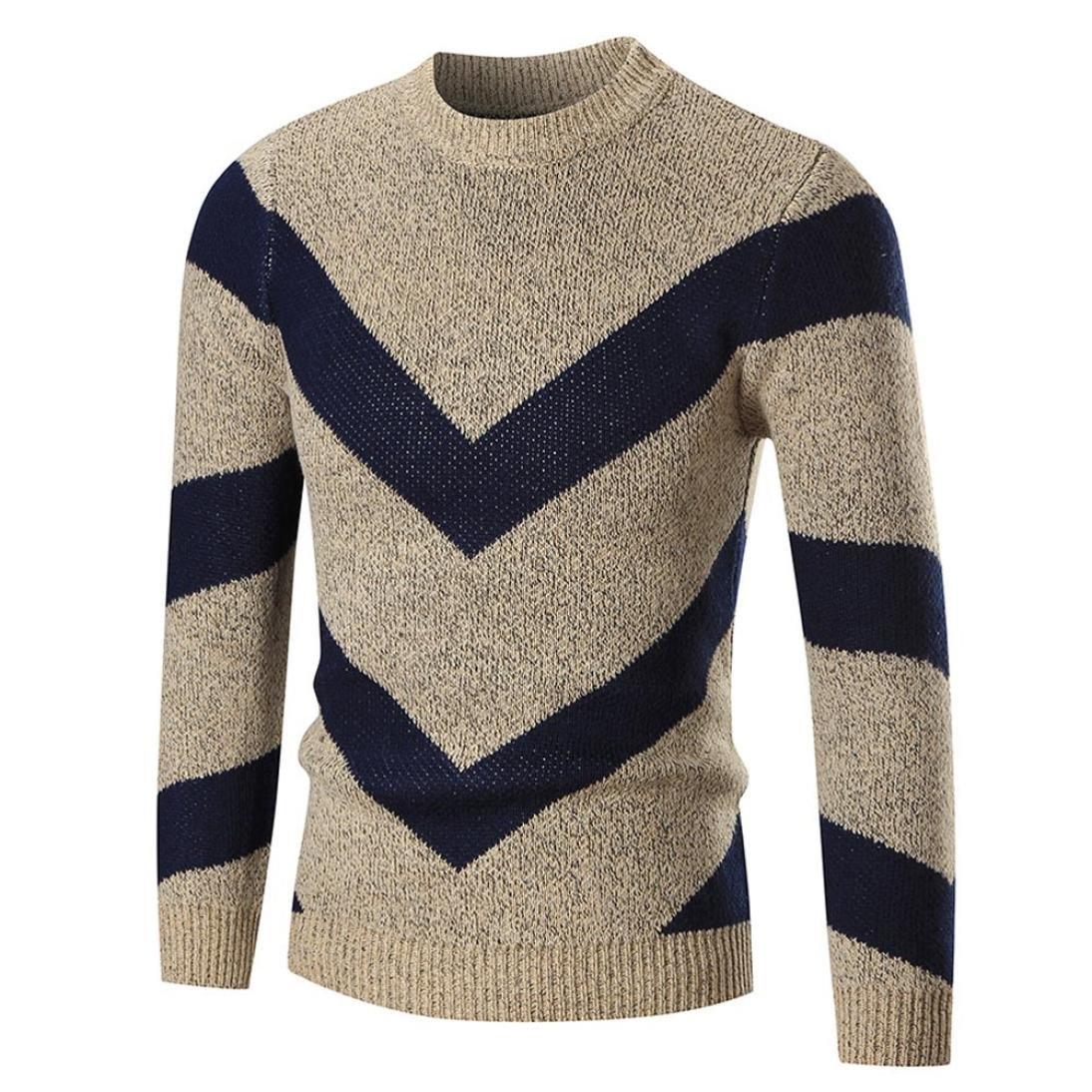 Hot Sales,Yang-Yi 2017 Men's Autumn Winter Sweater Pullover Slim Jumper Knitwear Outwear (Khaki, L)