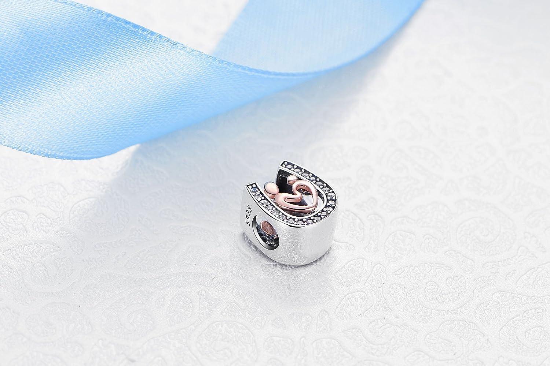 d39a82debd8f Abalorio de plata de ley 925 con diseño de amor de madre y hijo ...