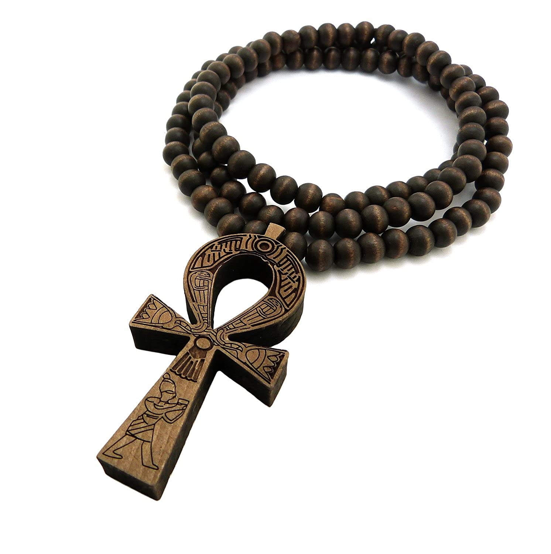Egyptian ankh cross pendant 8mm 36 wooden bead necklace brown tone egyptian ankh cross pendant 8mm 36 wooden bead necklace brown tone xj217brn amazon aloadofball Gallery