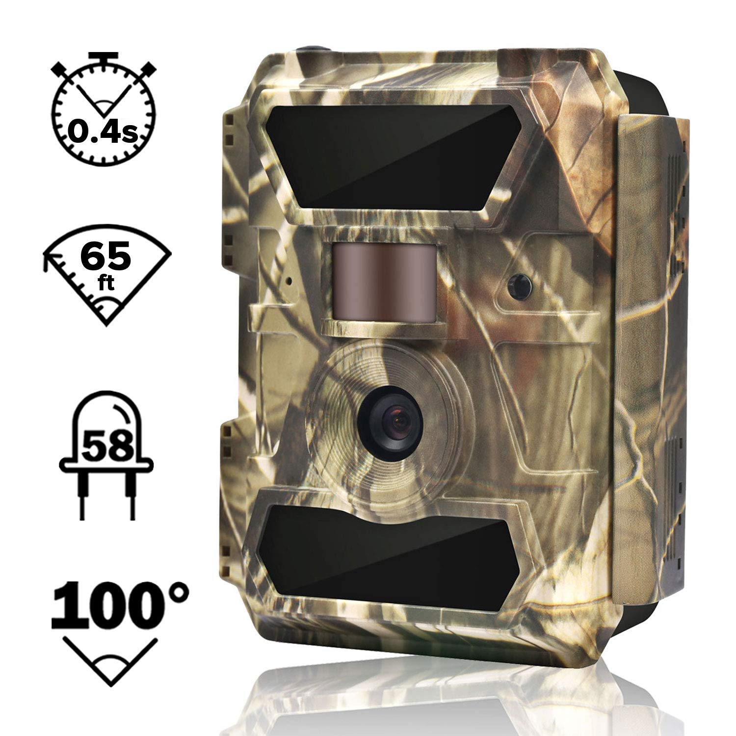 WingHome Trail Camera, 12 16 22MP 1080P Game Camera with Night Vision No Glow, 0.4s Trigger Time Outdoor Wildlife Camera Motion Activated Waterproof, 58pcs IR LEDs Infrared Hunting Camera