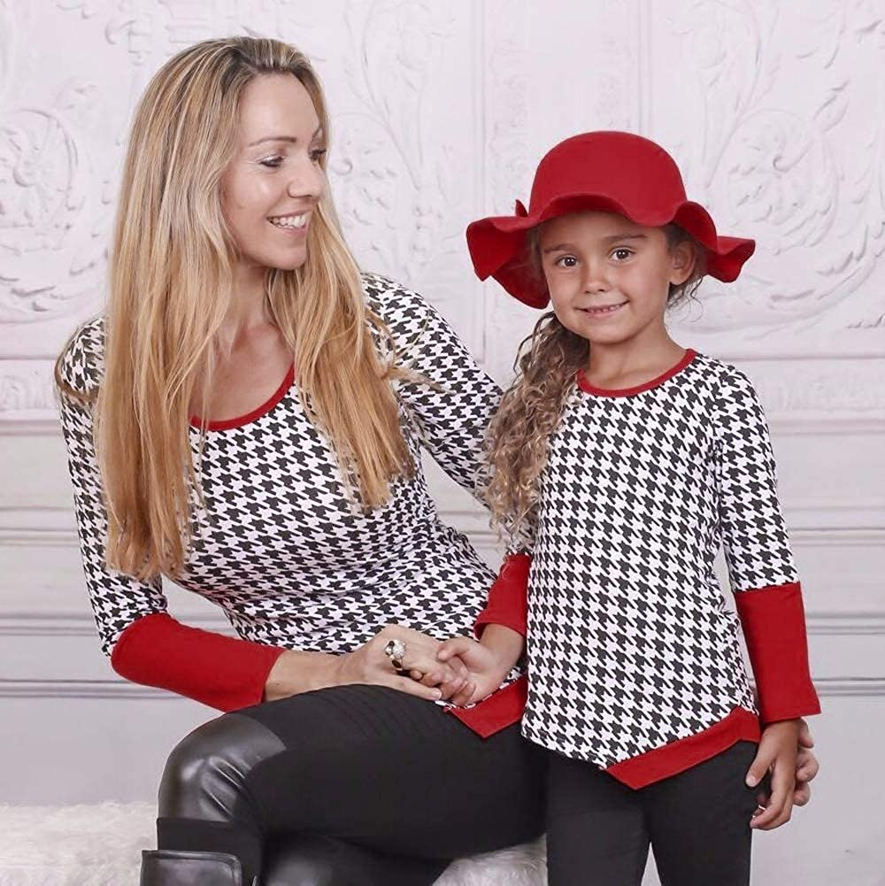 Mother /& Daughter Matching Printed Patchwork T-Shirt Top Blouse Family Shirts Outfits