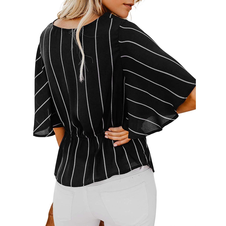 Katesid Womens Striped Shirt Blouses Short Sleeve V Neck Twist Ruched Tops
