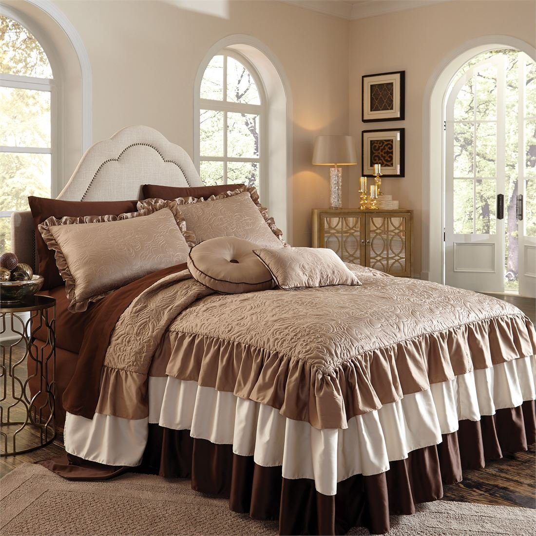 BrylaneHome Genevieve Ruffle Bedspread (Ivory Taupe,Queen) by BrylaneHome