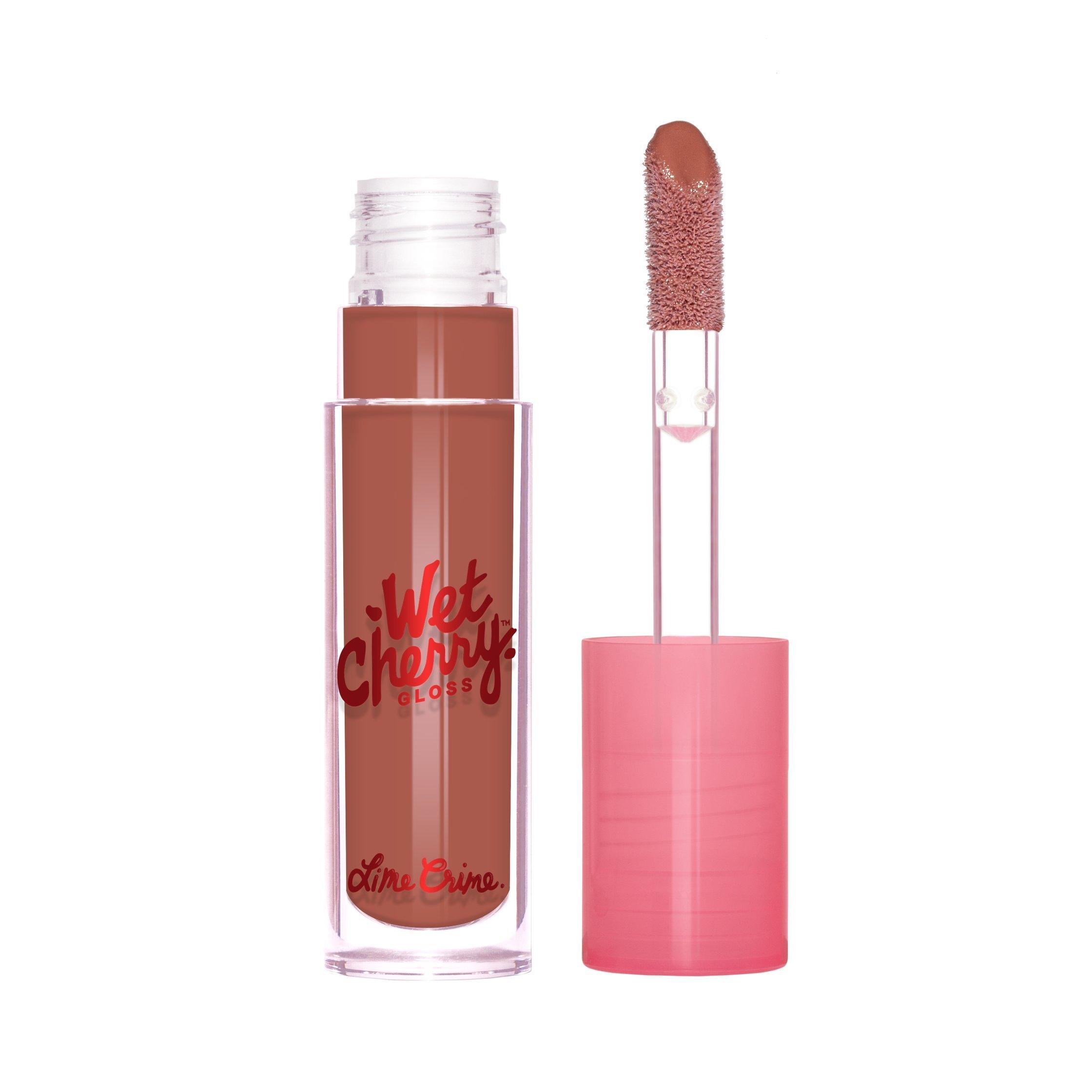 Lime Crime Wet Cherry Lip Gloss (BITTER CHERRY). High Shine, Non-Sticky Lip Gloss in Soft Brown-Nude. (0.1 fl oz / 2.96 ml)
