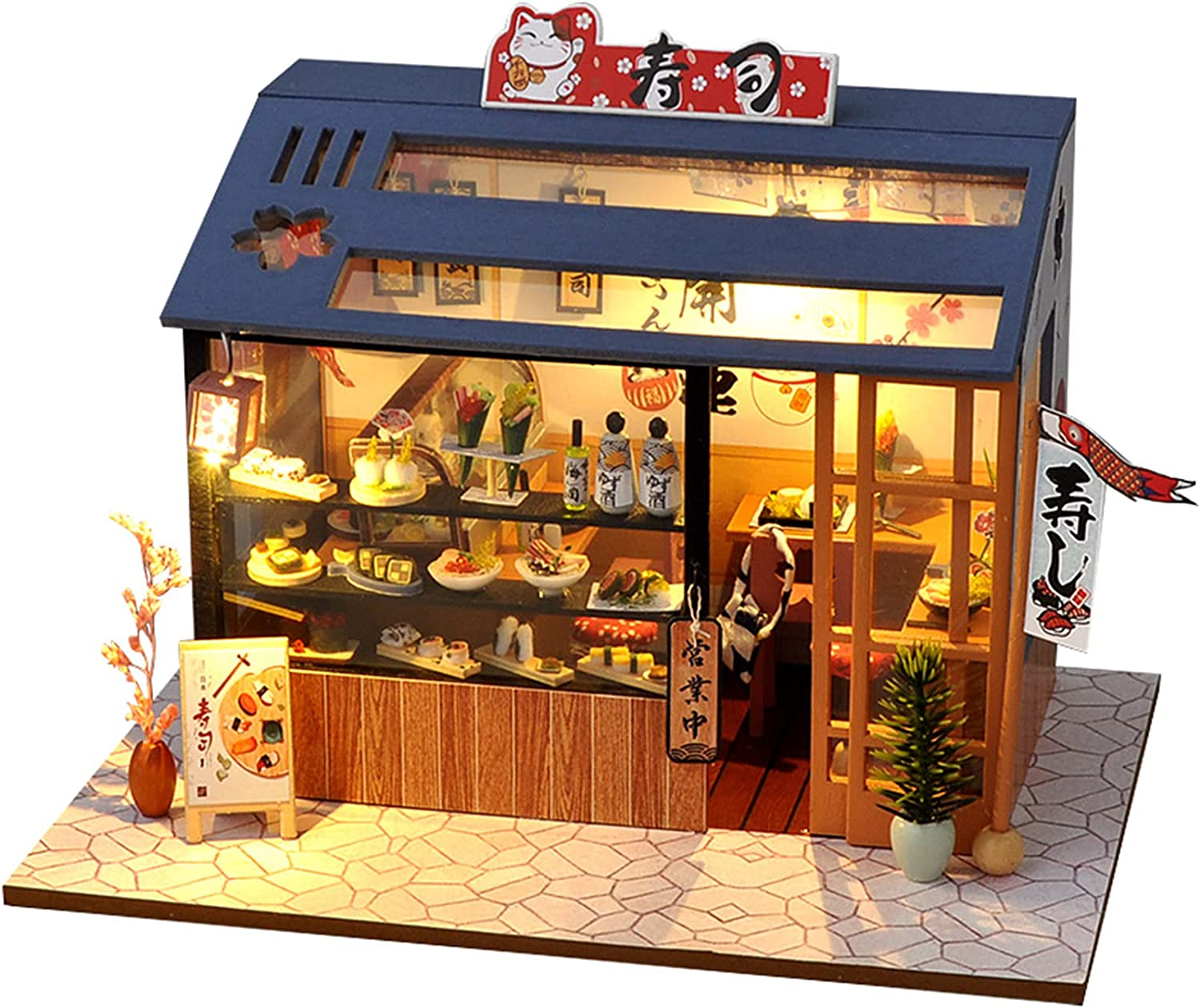 EIRMEON Dollhouse Miniature DIY House Kit with Furniture,DIY Wooden Dollhouse Kit,1:24 Scale Model House,Food and Play Shop for Kids Teens Birthday Gifts (Sushi Shop)