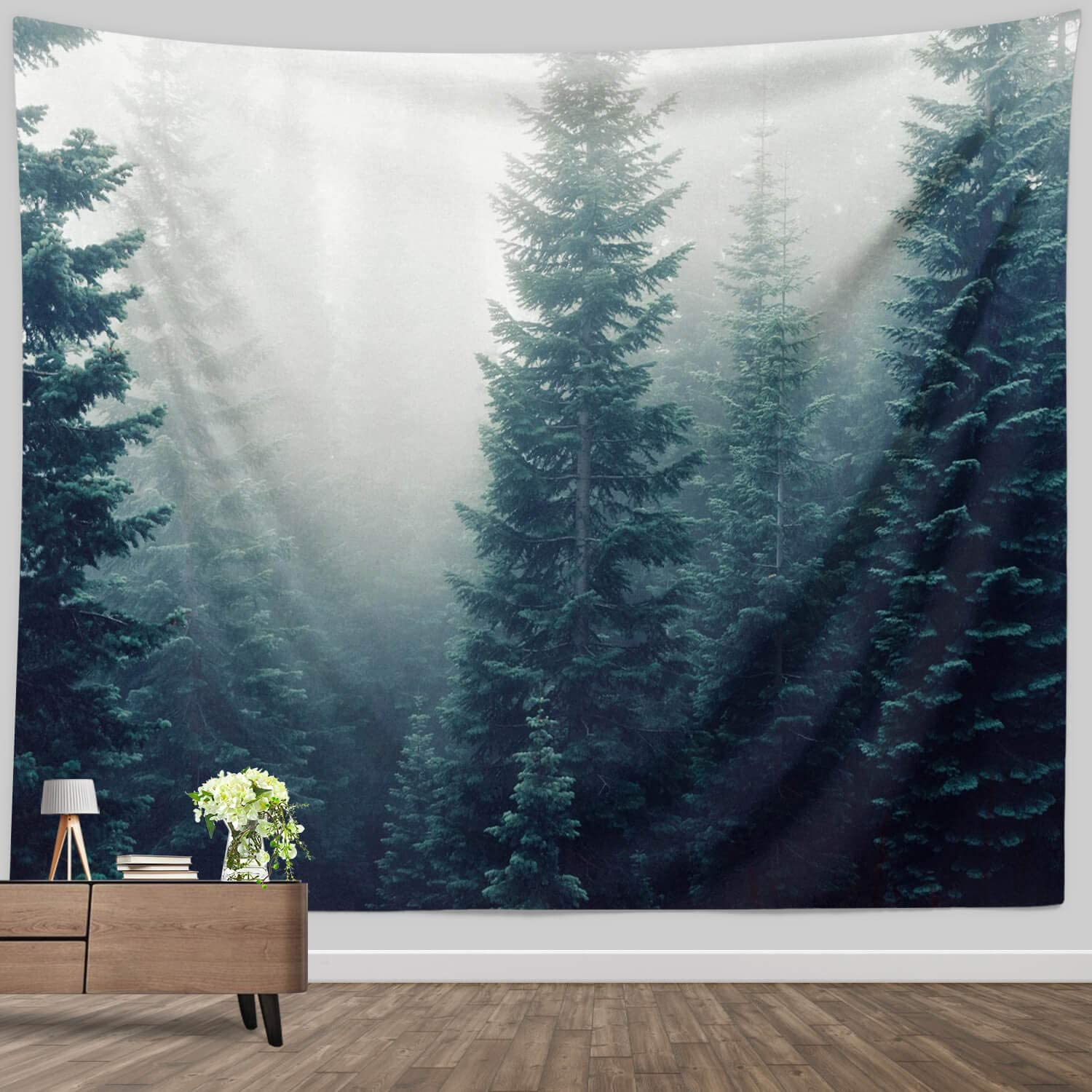 Green Tree Forest Decor Tapestry,Pine Tree Tapestry Wall Hanging Room home decoration Nature Landscape Wall Tapestry for Bedroom Living Room Dorm,52x60 Inch Long