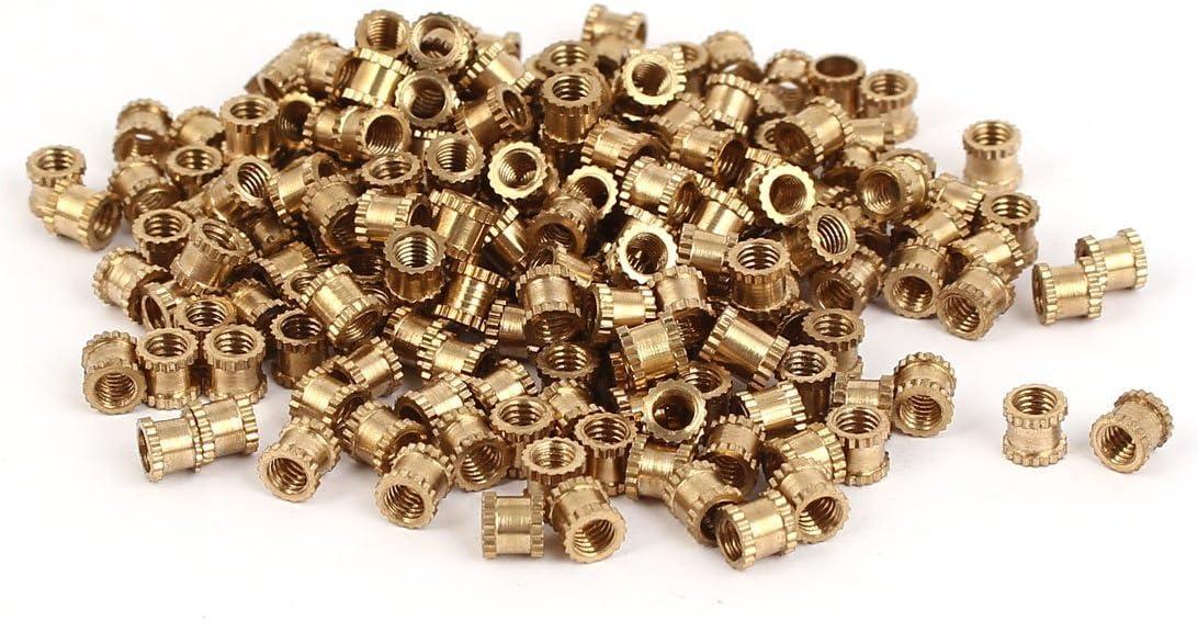 sourcingmap/® M4x 5mm Cylindre en laiton filet/ée molet/ée rond Insert /Écrous int/égr/é 200