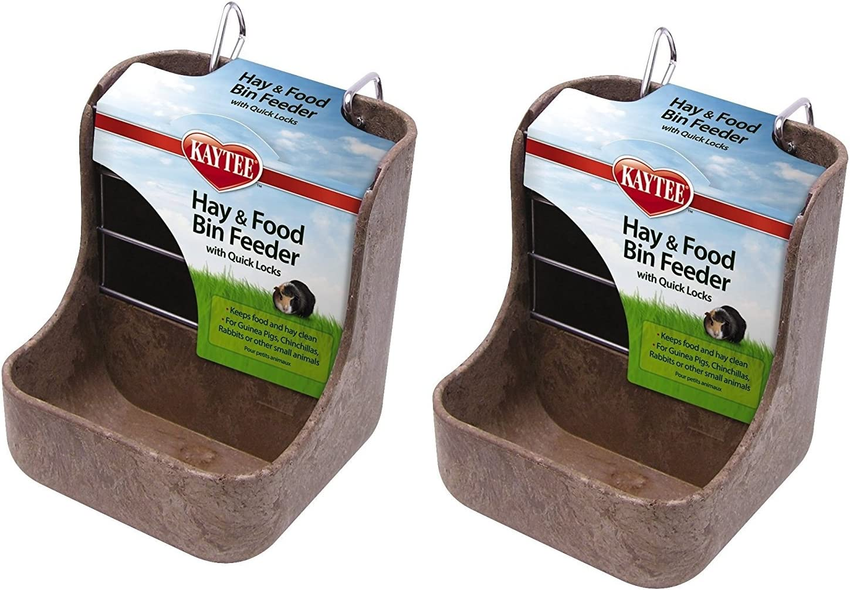Kaytee Hay n Food Bin Feeder with Quick Locks (2-Pack) (Colors May Vary)