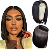 ALI GRACE Pre Plucked Bleached Knots Lace Closure 4x4 Bob Wig 150% Density Straight Wigs Human Hair for Black Women 9A…