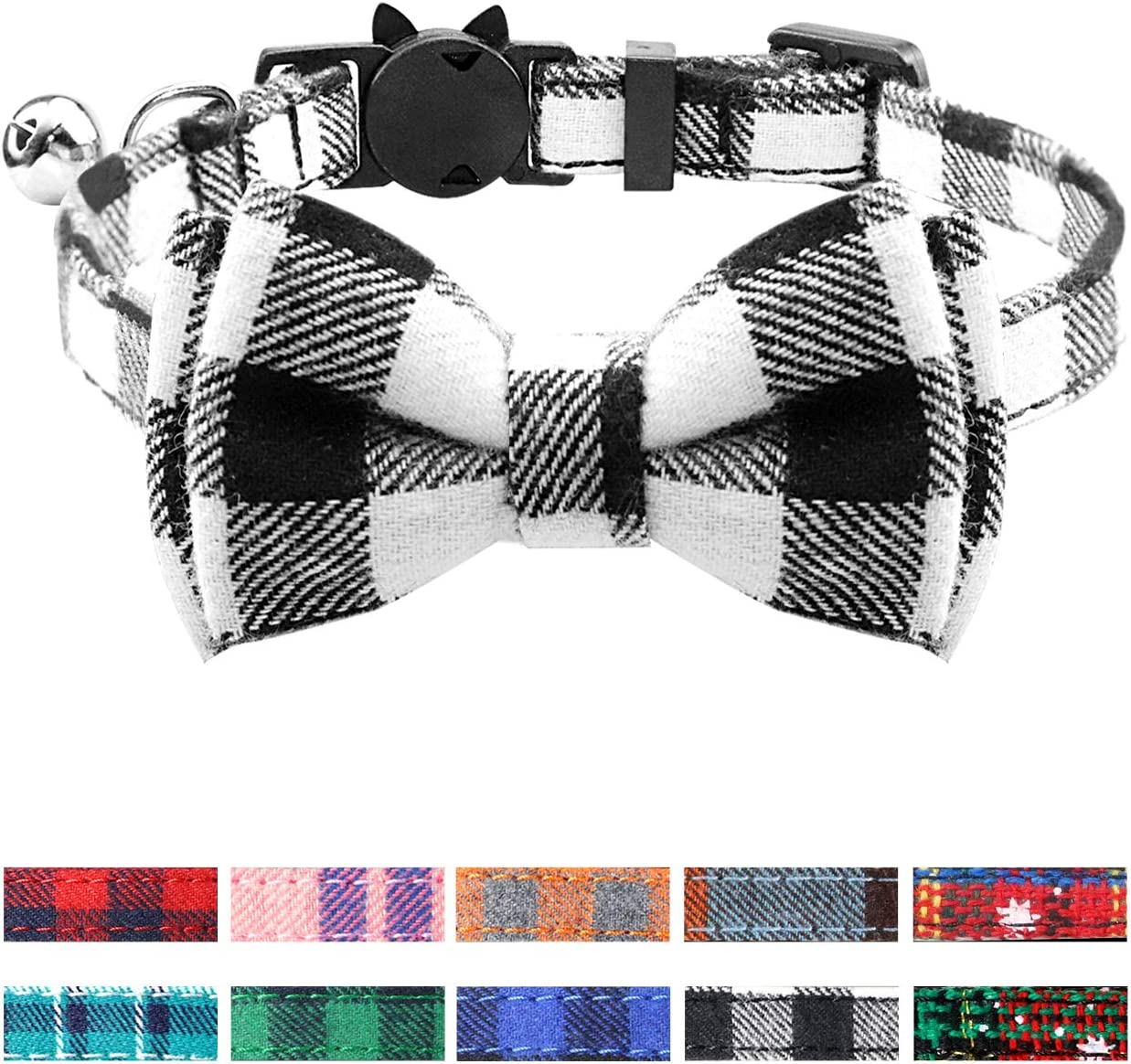 Joytale Breakaway Cat Collar with Bow Tie and Bell, Cute Plaid Patterns, 1 or 2 Pack Kitty Safety Collars