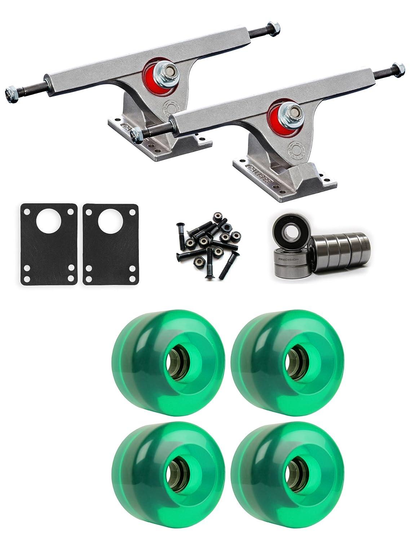 Caliber Raw Longboard Trucksホイールパッケージ70 mm x 46 mm 83 a 341 Cグリーンクリア   B01IJ6DO40