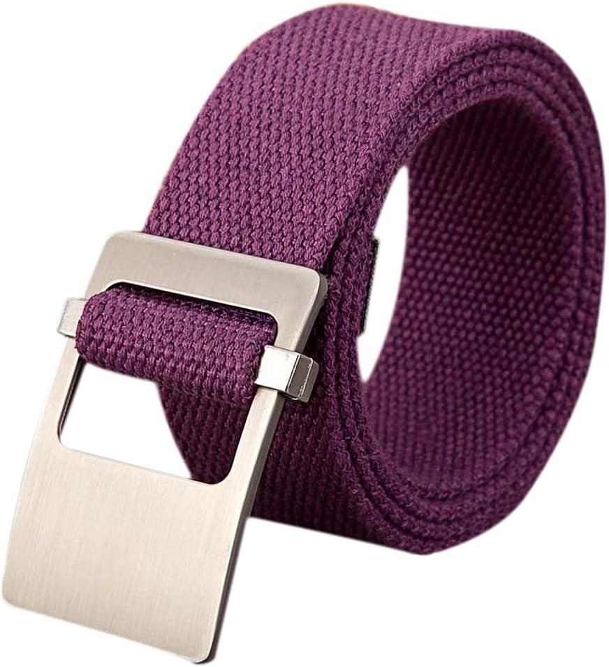 milopon Cinturón plástico Cinturón de entrelazado Canvas Cinturón para mujer hombre libre ajustable Jeans Cinturón V6D310Z con hebilla metálica 110cm morado