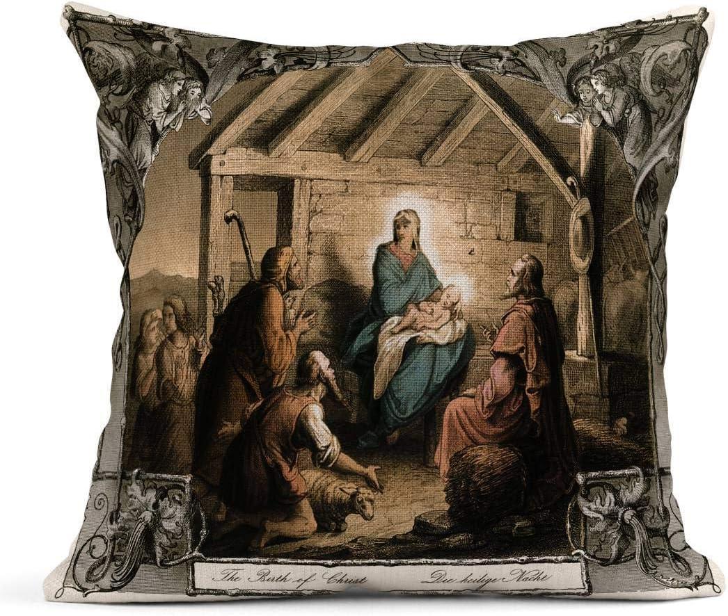 Kinhevao Cojín Nacimiento de Cristo Natividad Grabado en Acero ...