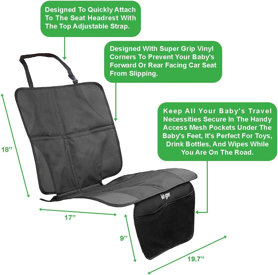Or From Your Pets Protects Your Auto Leather And Upholstery Seats From Damage Luxury Mat Cover Protector To Keep Nice And Clean Under Your Baby/'s Infant Car Booster Seat Lebogner Car Seat Protector