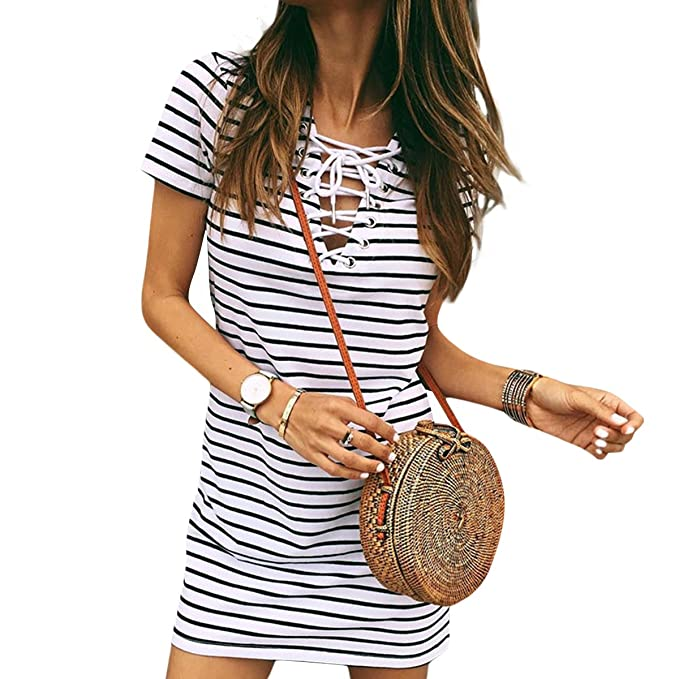 9c9c8abd89 Image Unavailable. Image not available for. Color  Kweyhrsrz Lace Up V Neck  Stiped Bodycon Mini Dress Women Short Sleeve T-Shirt Dresses