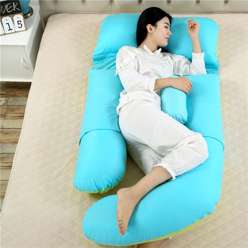 SYT Travel pillow U-förmige Schwangerschaft Schlafkissen Mutterschaft Körperkissen Frauen Schwangere Seitenschläfer Kissen, 180x110x75cm, grün blau