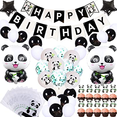 69Pcs Cute Panda Party Supplies for Girls Panda Happy Birthday Banner Panda Balloons Panda Cupcake Toppers Panda Goodie Bags for Kids Boys Girls Panda Theme Birthday Party Baby Shower Party Favor Decorations: Toys & Games
