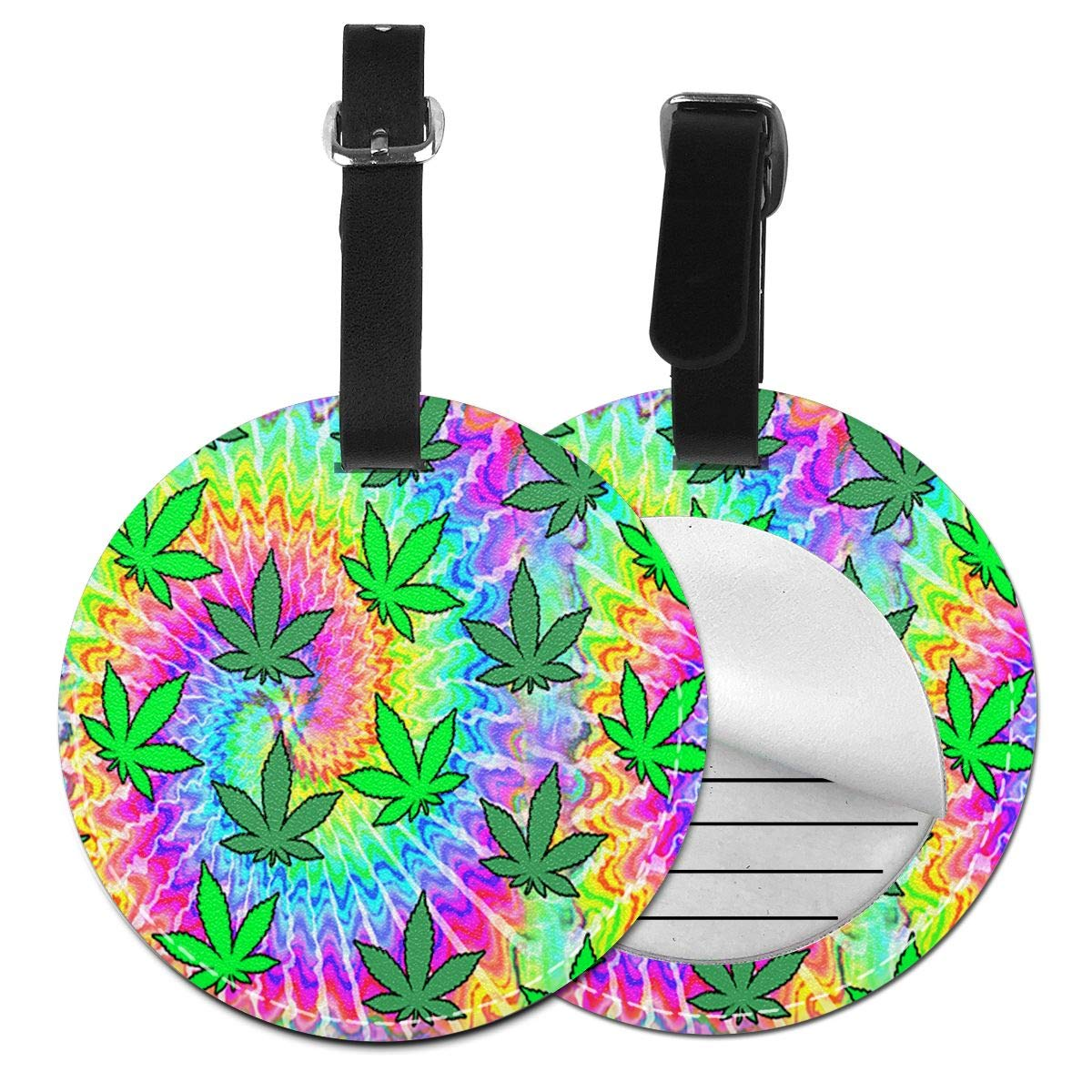 Free-2 Rspoonflower Weed Tie Dye Luggage Tag 3D Print Leather Travel Bag ID Card