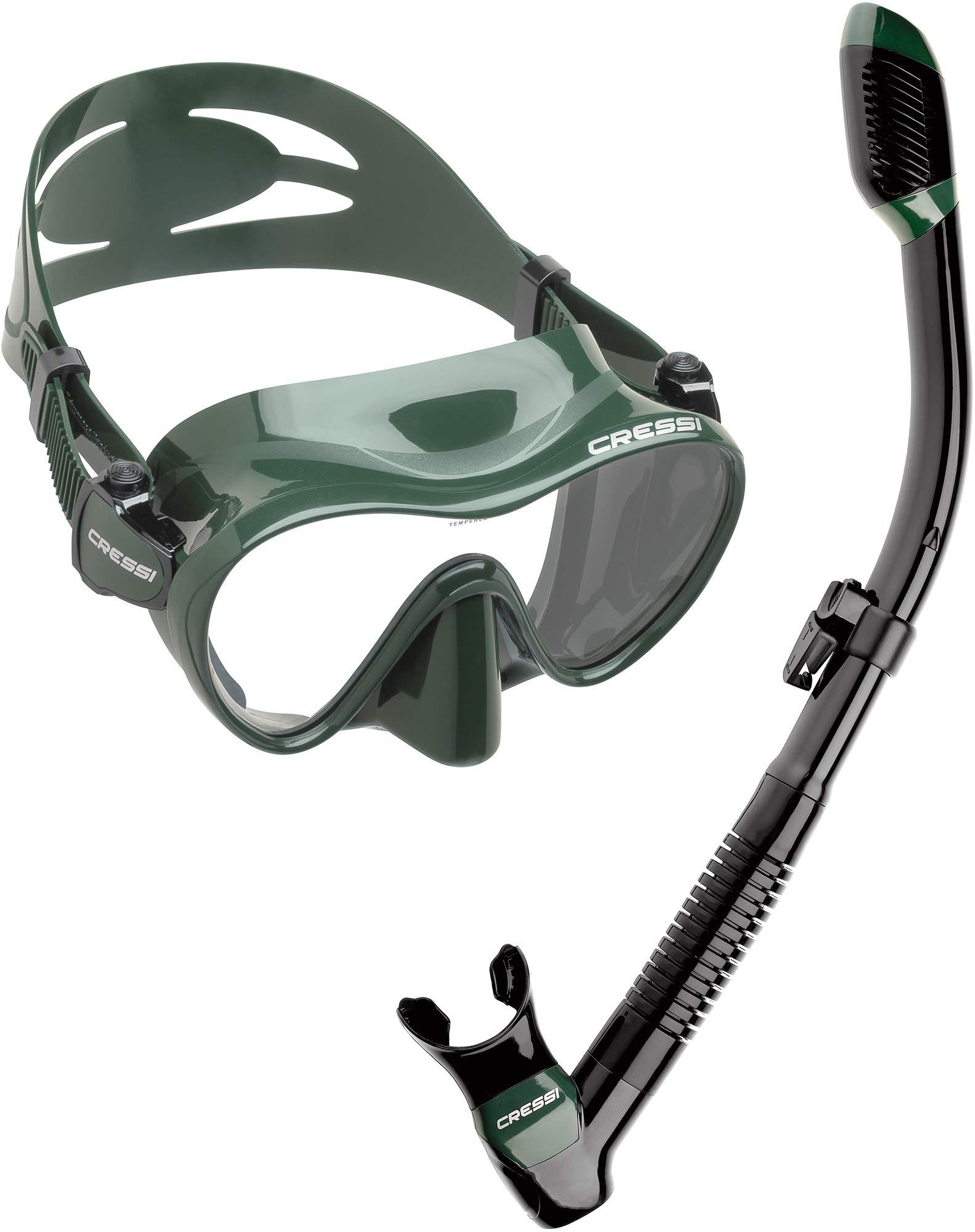 Cressi Scuba Diving Snorkeling Freediving Mask Snorkel Set, Green Camo by Cressi