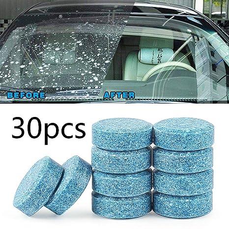 Teabelle-Auto -30 Pcs Limpiador de Ventanas de Cristal para Parabrisas Compacto, tabletas de detergente Fino Concentrado (5 Tabletas)