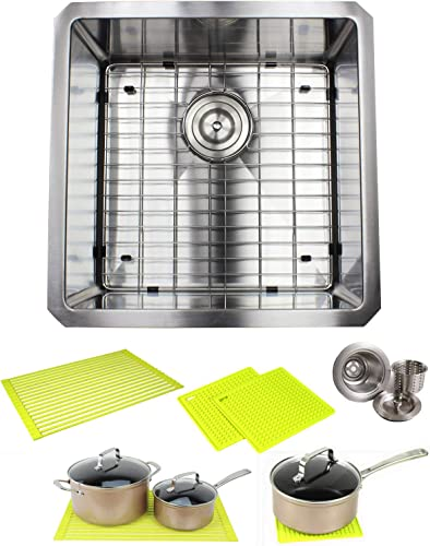 Ariel ARL-R1818 Premium 18 Inch Bar Package by Ariel-16 Gauge Undermount Single Bowl Basin-Complete Sink Pack Bonus Kitchen Accessories-Ideal for Home Improvement, Renovation, Stainless Steel