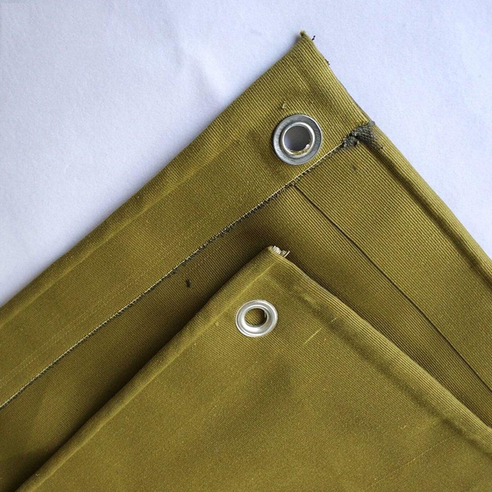 GLJ Altes Segeltuch Verdickte Militärgelben Segeltuch Haltbaren Super Haltbaren Segeltuch Silikontuchwasserdichten Markisenschatten Plane (Farbe   Dunkelgelb, größe   4x10m) 55a285