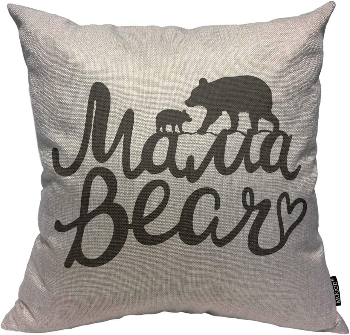 Mugod Throw Pillow Cover Lettering Quote Mama Bear Mother Bear Silhouette and Baby Home Decorative Square Pillow Case for Bedroom Living Room Cushion Cover 18x18 Inch