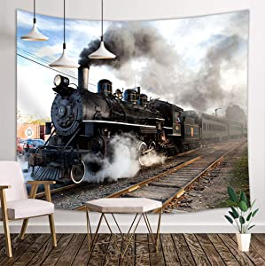 NYMB Steam Engine Tapestry Wall Hanging, Train on Railroad Track, Panels Bedroom Living Room Dorm, 71 X 60 Polyester Mandala Hippie Boho Style Blankets Home Art Decor
