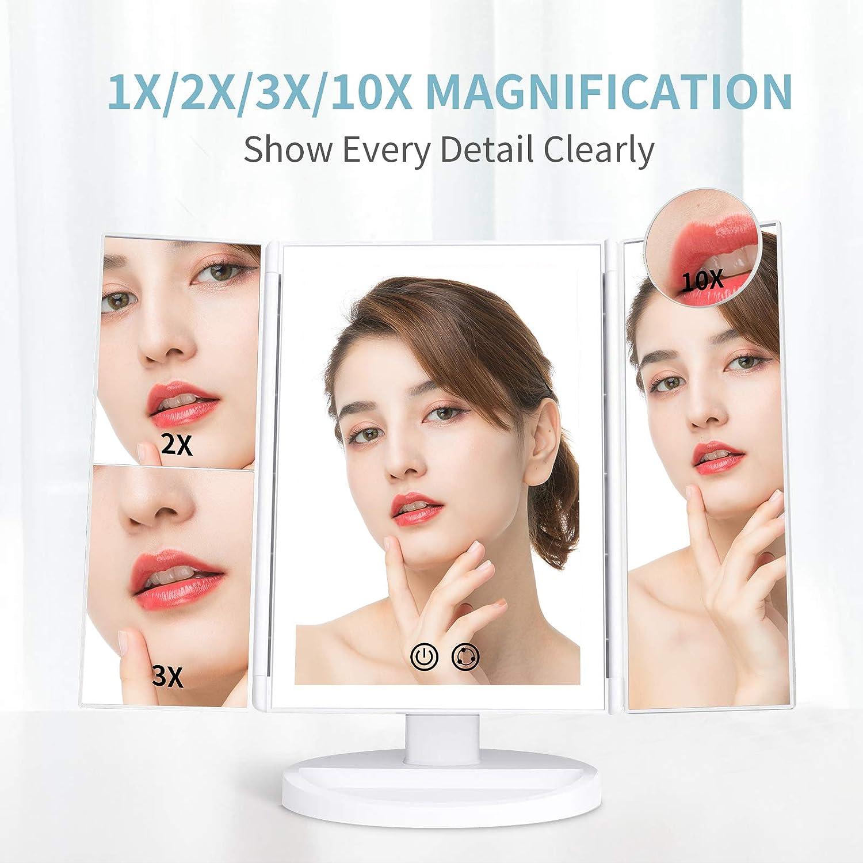 Espejo de maquillaje Alvorog con aumentos y luz LED por sólo 11,99€ usando el #código: B53THNH4