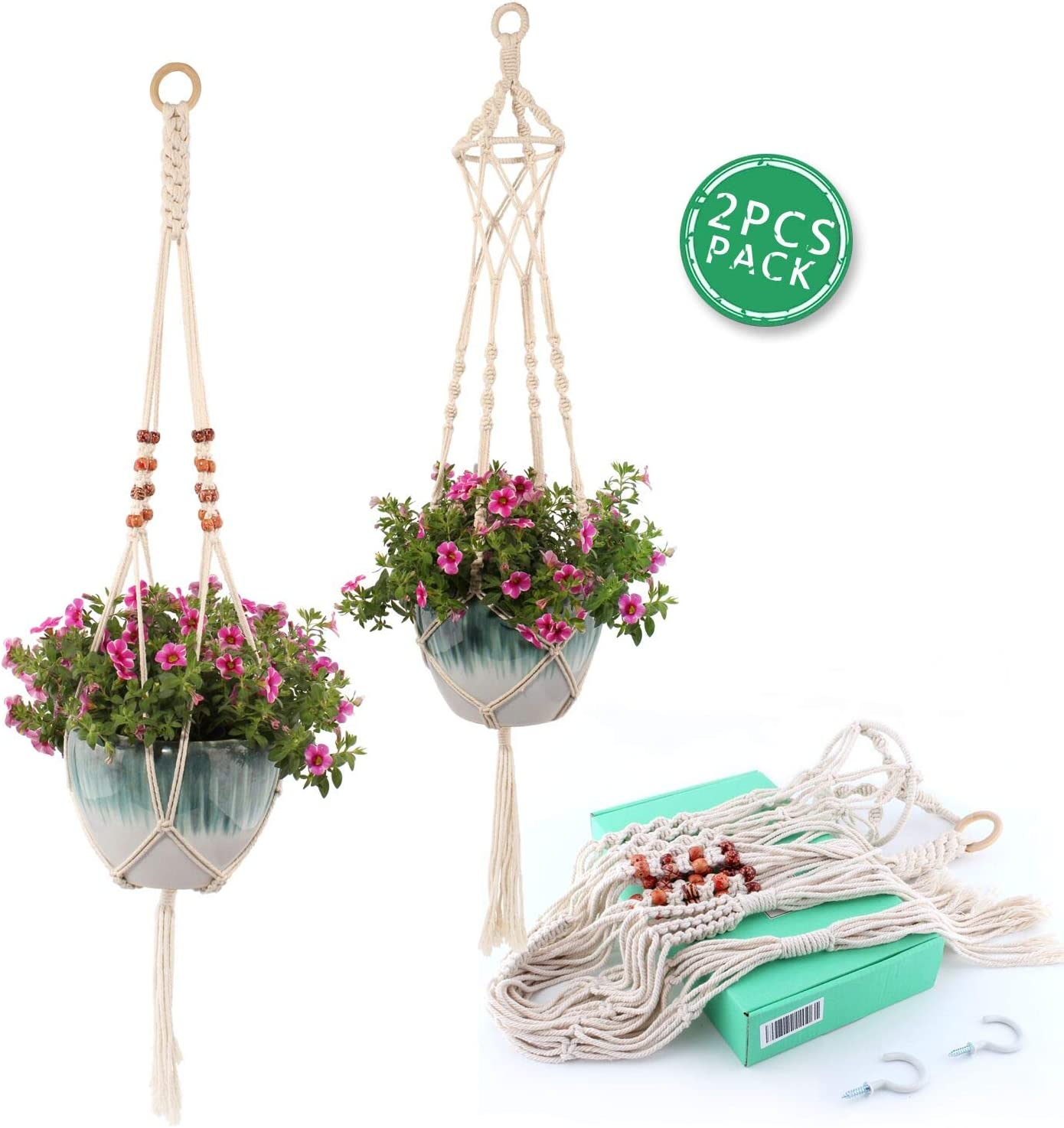 RICHOOSE Macrame Plant Hanger 2PCS Boho Cotton Home Decor Hanging Flower Pot Basket Holder