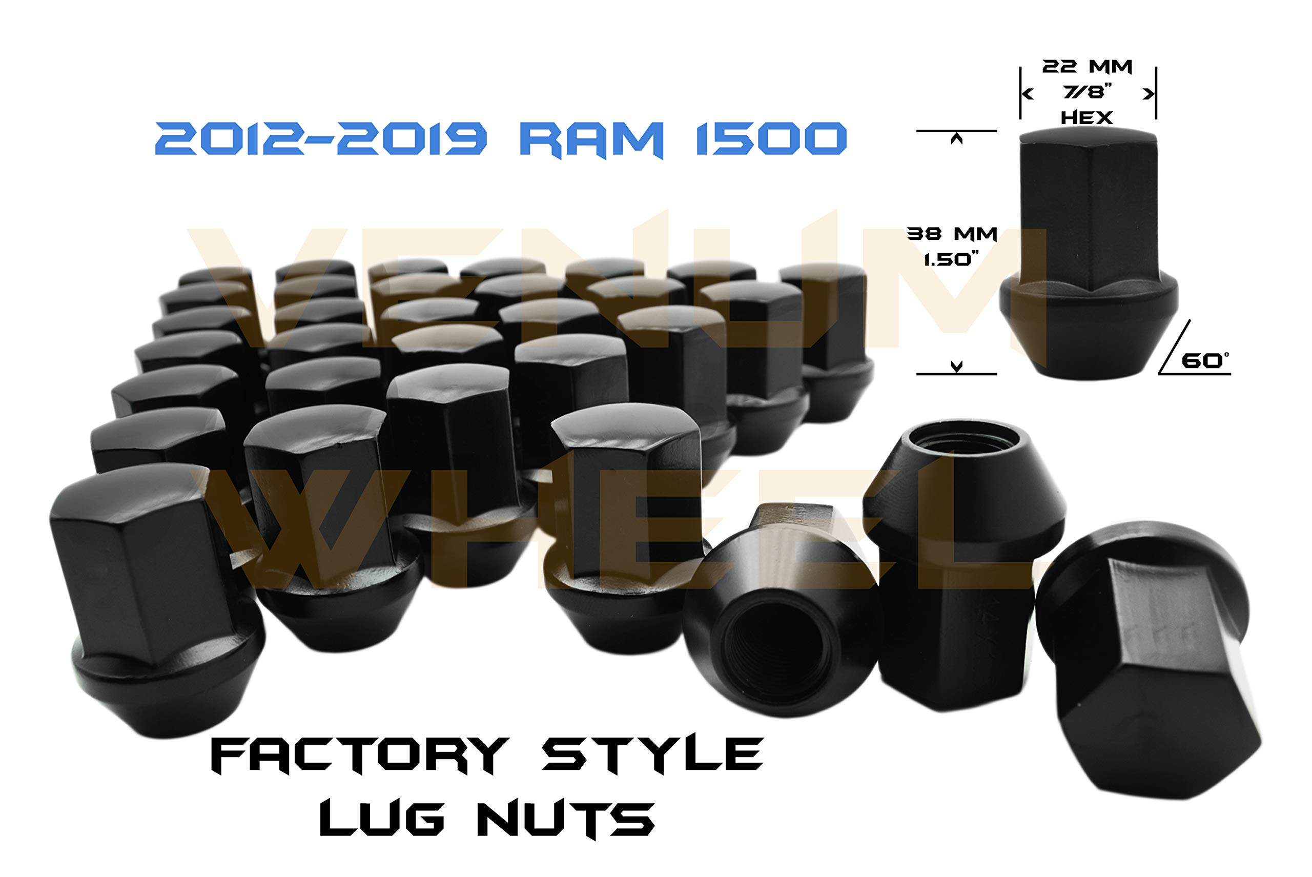 Venum wheel accessories 12-19 Ram Truck 1500 Black OEM Factory Style Black Lug Nuts M14x1.5 W/ 22MM Hex Close End 1.5'' Tall 5x5.5 New Model Ram 1500 Made in USA (LNRAM141BK-20)