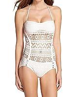 Minetom Femme Swimwear Maillots de bain une pièce - Halterneck - Crochet - Push up - One-piece