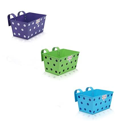 Pepper Agro Gardening Railing balcony Planter Decorative Polka Dotted Hanging Pots metal plant container Parrot Green, Sky Blue, Purple Set of 3