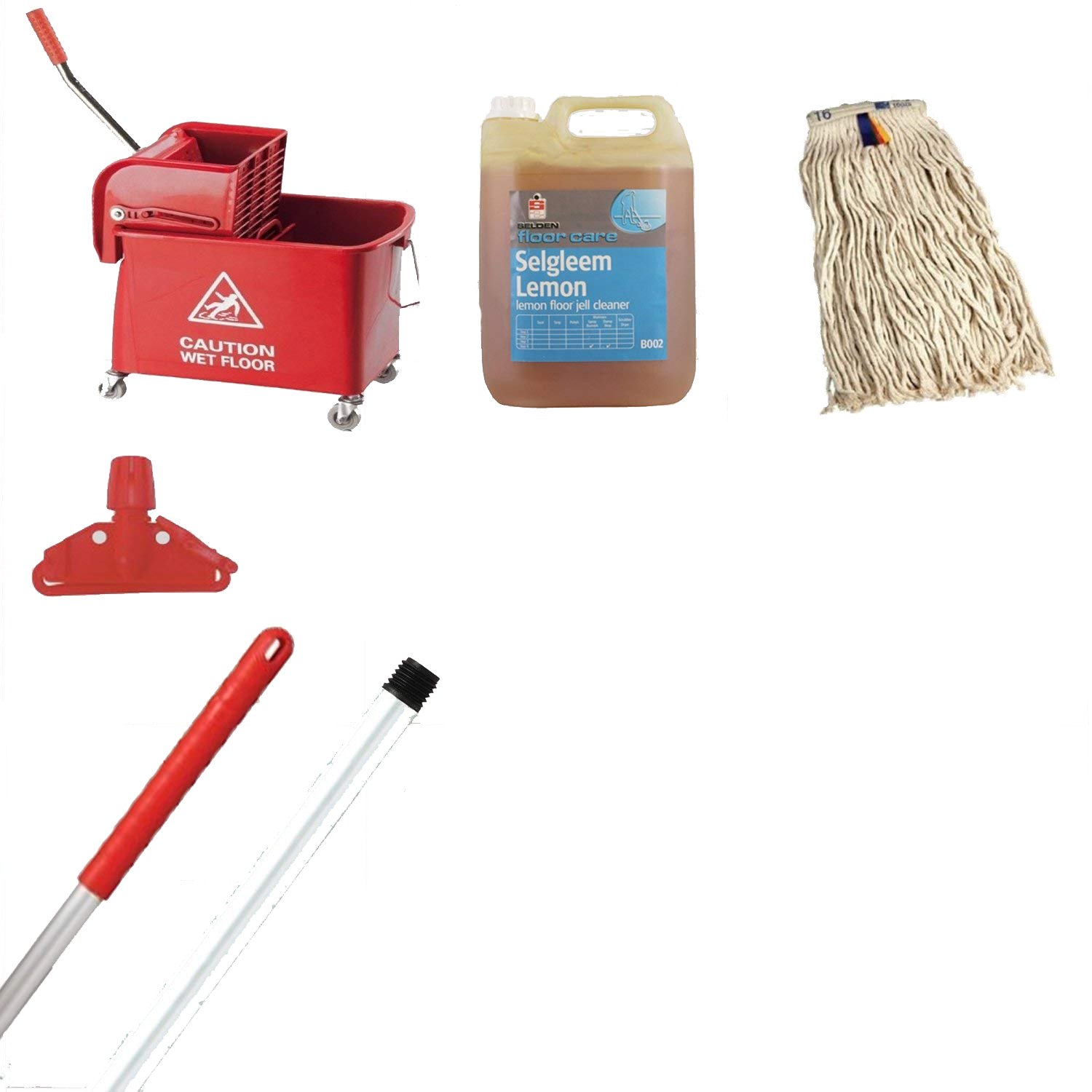 Kentucky Mop Bucket And Wringer Kit Red Ideal 365