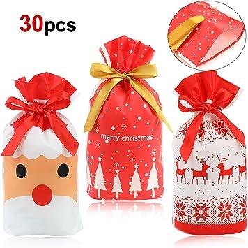 HOWAF 30 Pezzi Sacchetti Regalo di Natale, Sacchettini di Festa