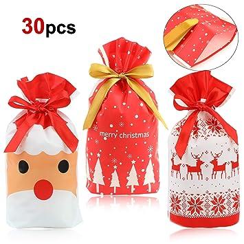 HOWAF 30pcs Bolsas de Regalo Navidad Bolsas Plástico con Cordón Bolsa Bolsas cumpleaños Infantil para Navidad Fiestas Cumpleaños Boda Caramelos Dulces ...