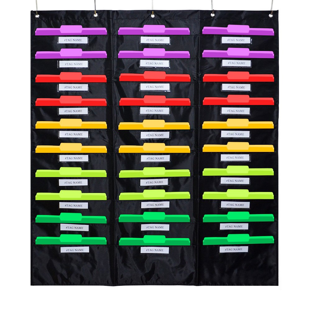 Godery School Pocket Chart, 30 Signatory Pocket, Heavy Duty Hanging File Folders Pocket Chart Cascading Organizer & 5 Hangers Hooks, Perfect for Classroom, School, Office or Home Use