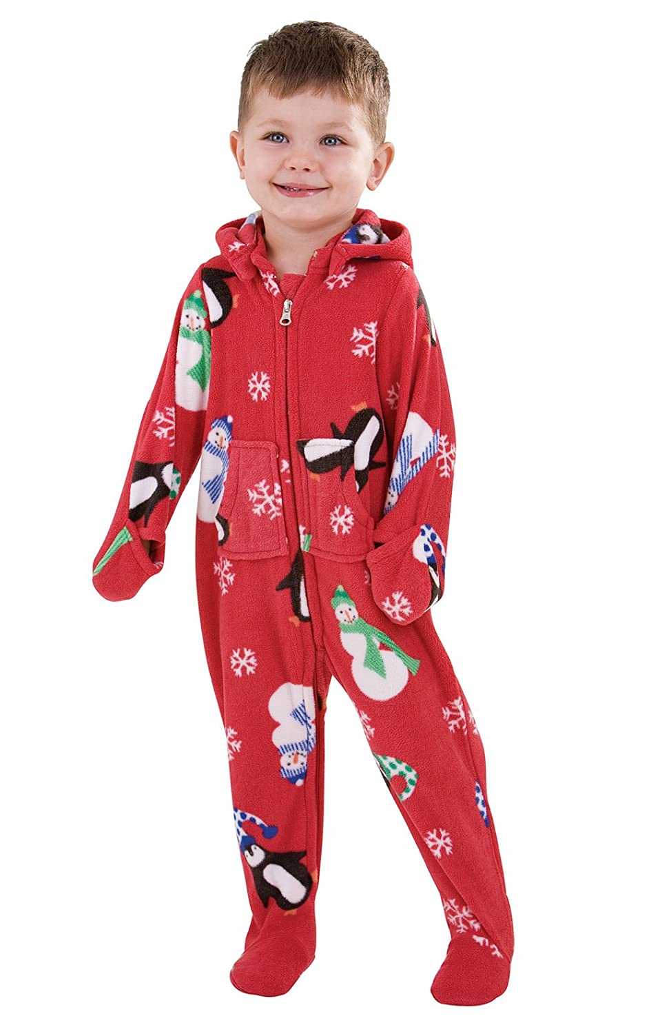 PajamaGram Toddlers Infant Hoodie-Footie Fleece Onesie Pajamas GAMV01553
