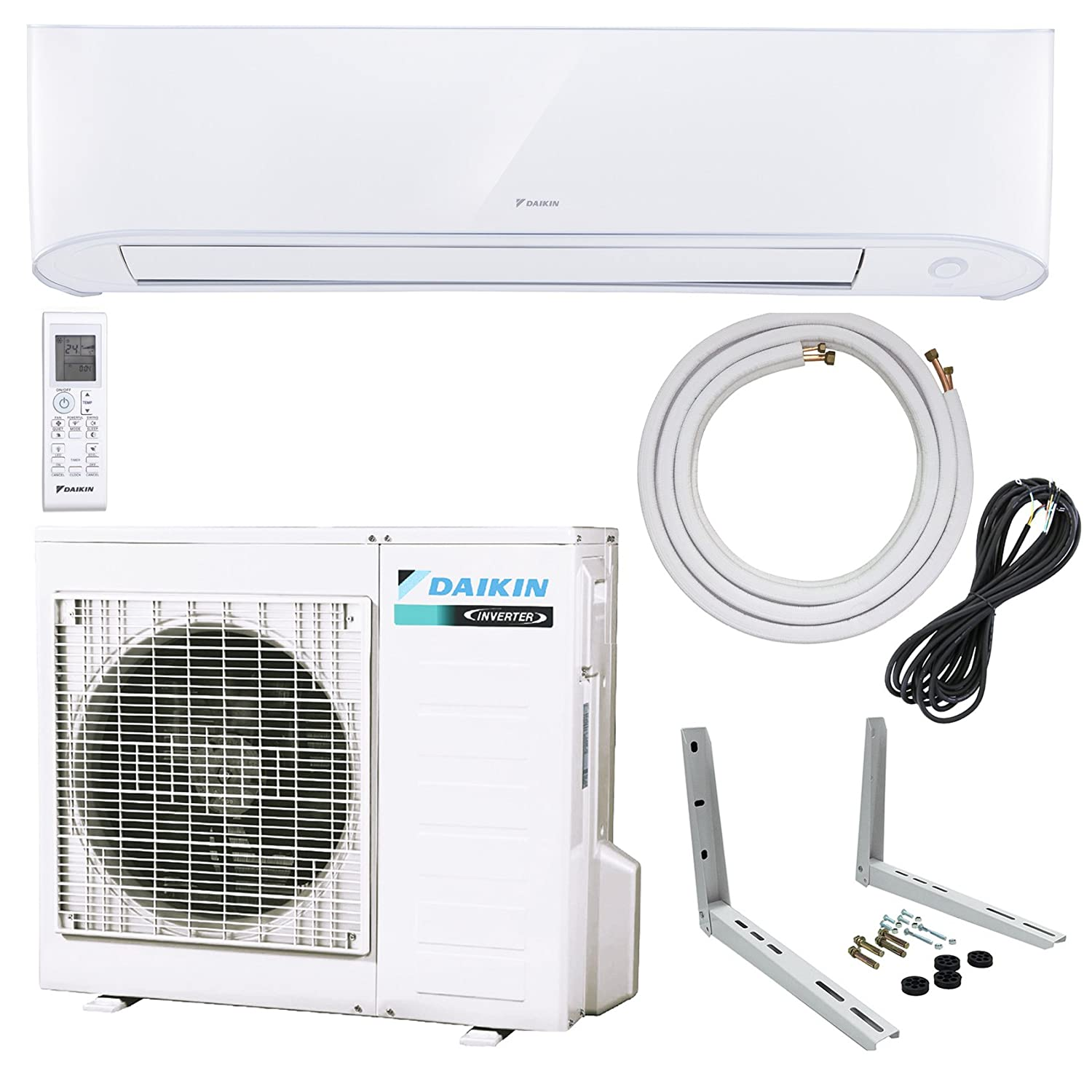 Amazon.com: Daikin 18,000 BTU 17 SEER Wall-Mounted Ductless Mini-Split Inverter Air Conditioner Heat Pump System 15 Ft. Installation Kit & Wall Bracket (230 ...